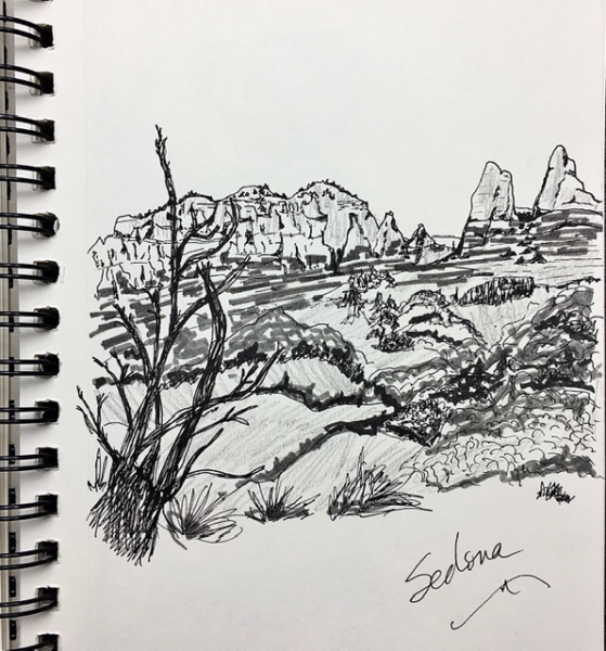 Pitt Pens Sketch - Sedona